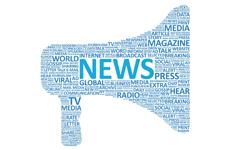 word cloud of news, media, tv, magazine, world, global, viral, in bullhorn shape.