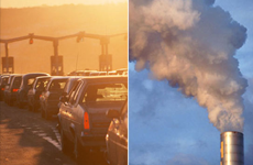 traffic, smoke stacks, global warming