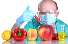 surgeon injecting fruit and vegetables with a syringe