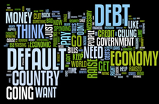 word cloud of default, economy, money and debt