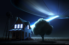 flying saucer flashing light at house above a farm